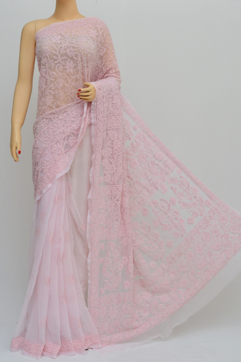 Pink Colour,Half Jaal Hand Embroidered Work Lucknowi Chikankari Saree (With Blouse - Georgette) SS250560
