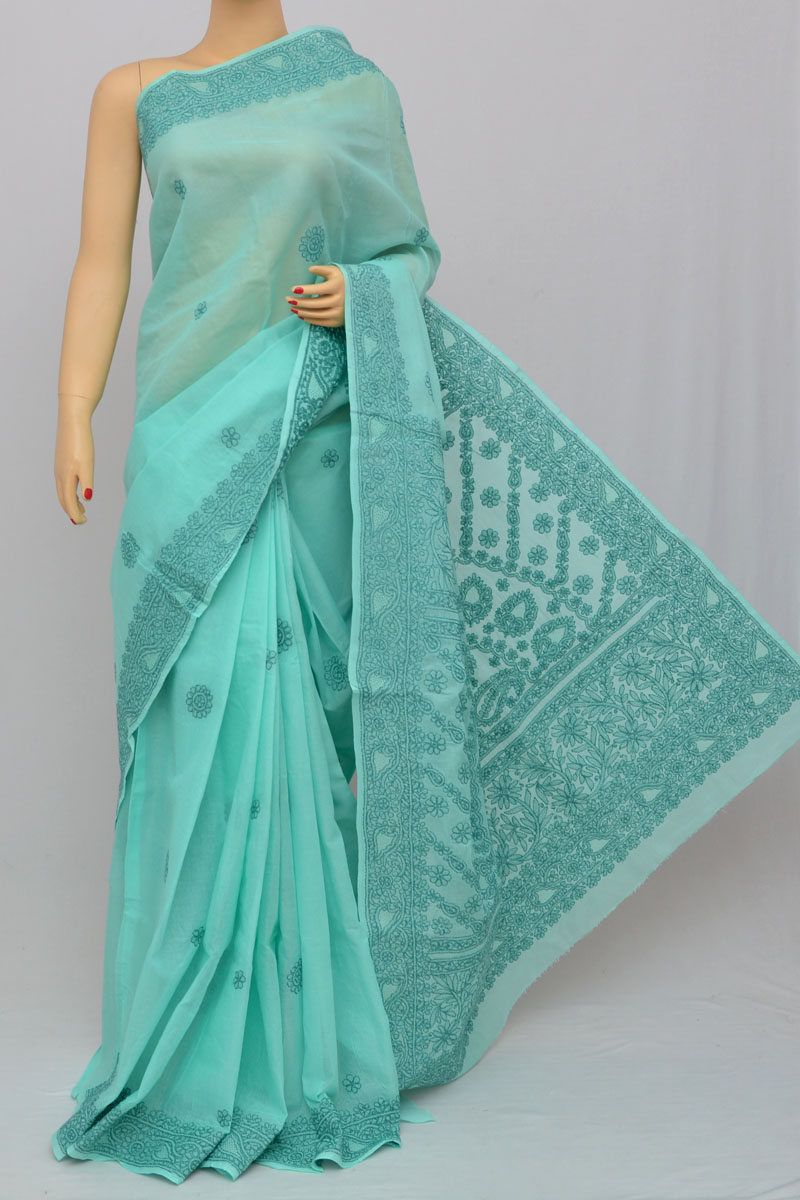 Sea Green Hand Embroidered Lucknowi Chikankari Saree (With Blouse - Cotton) HS250304