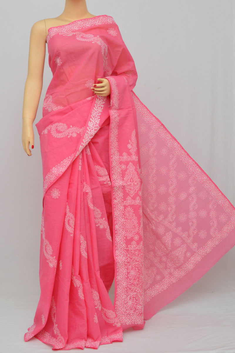 Pink Color Hand Embroidered Lucknowi Chikankari Saree (With Blouse - Cotton) KC253018