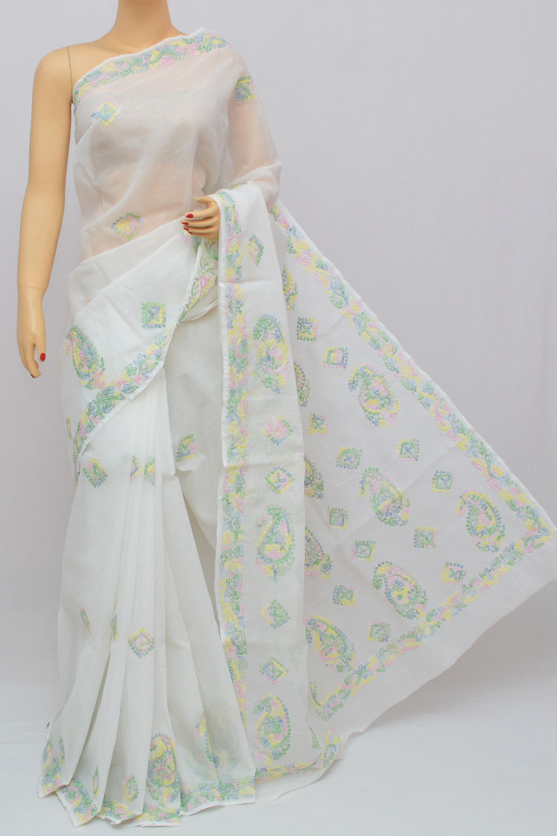 White Color Multi Thread Work Hand Embroidered Lucknowi Chikankari Saree (With Blouse - Cotton) KC250319