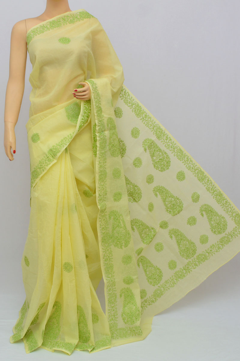 Lemon Yellow Color Hand Embroidered Lucknowi Chikankari Saree (With Blouse - Cotton) KC250317