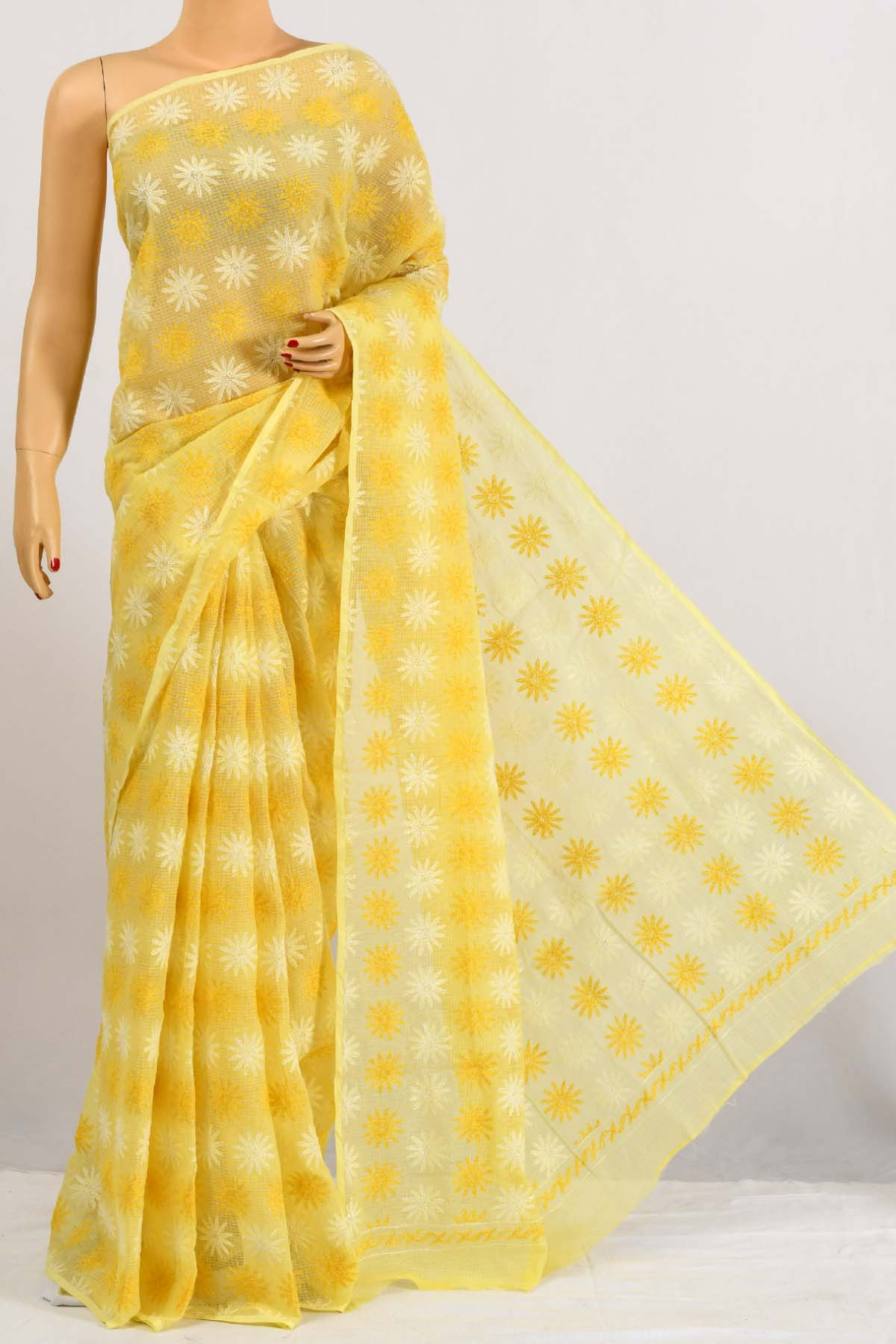 Yellow Color Kota Cotton Multi Thread Tepchi Work Hand Embroidered Lucknowi Chikankari Saree (Without Blouse) SM250671