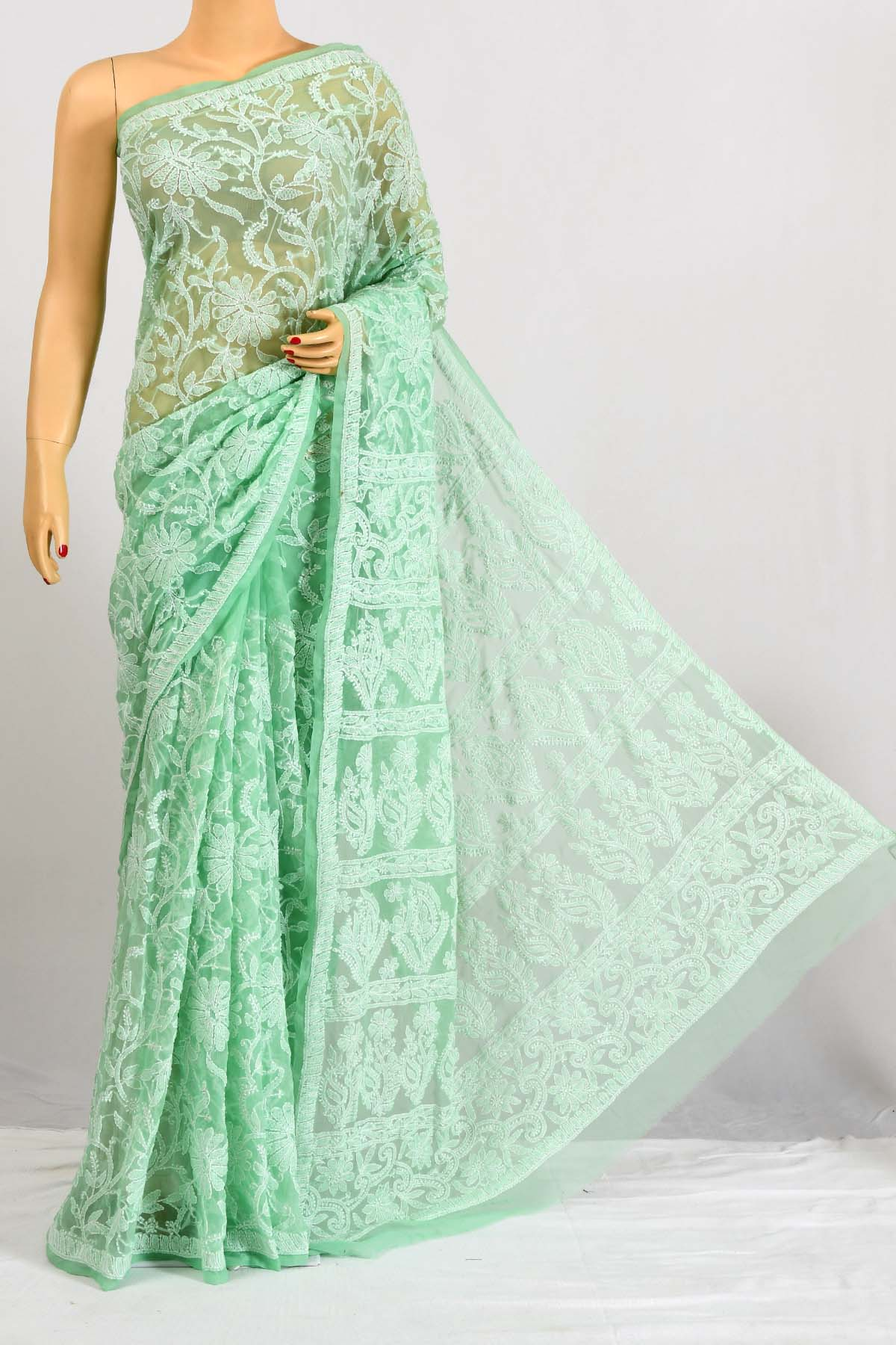 Seagreen Color Hand Embroidered Work Allover Lucknowi Chikankari Saree (With Blouse - Georgette) PU250675