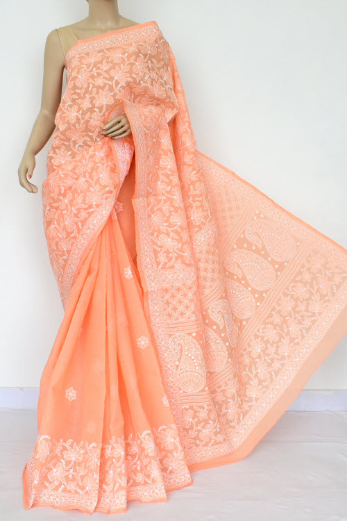 Orange Hand Embroidered Lucknowi Chikankari Saree (Cotton-With Blouse) 15465