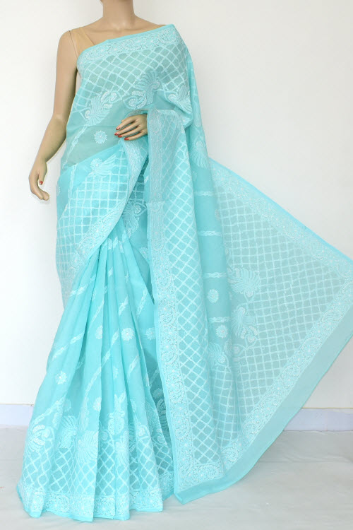 Blue Hand Embroidered Lucknowi Chikankari Saree (Cotton-With Blouse) 14808