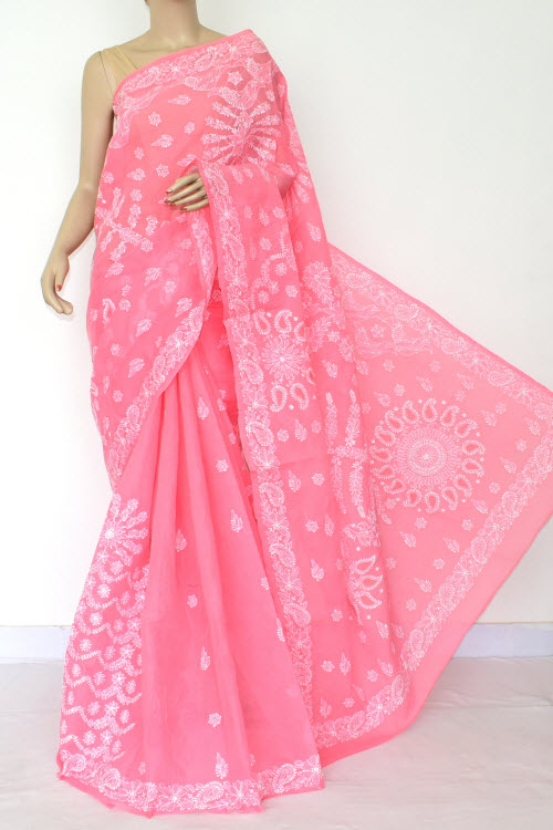 Pink Hand Embroidered Lucknowi Chikankari Saree (Cotton-With Blouse) 14814