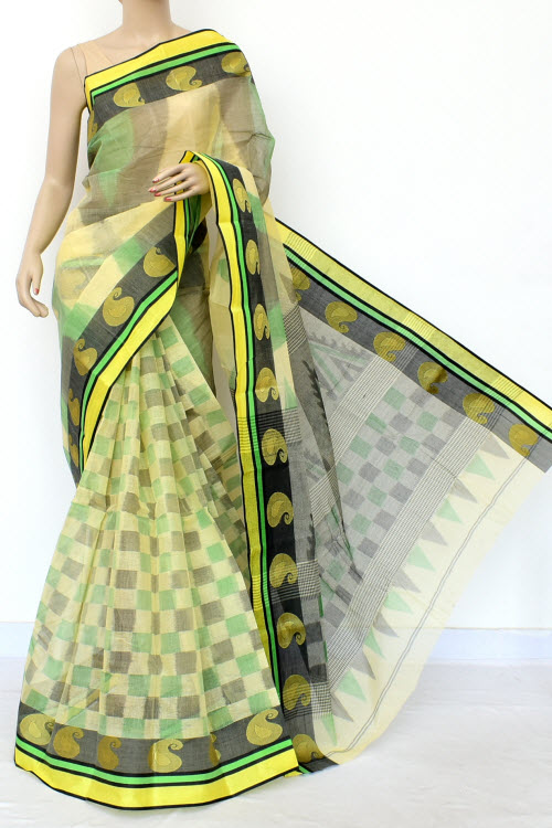 Green Colour Handwoven Bengal Handloom Cotton Saree (without Blouse) 17146