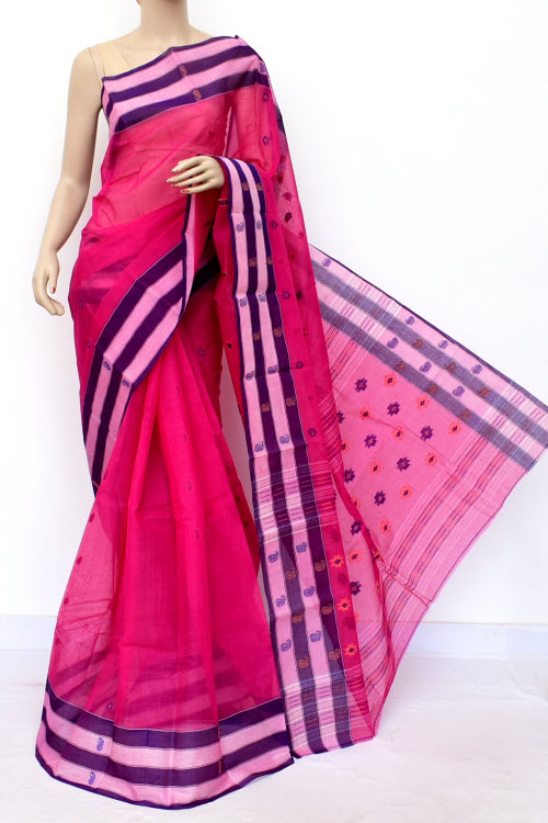 Pink Colour Handwoven Bengal Handloom Cotton Saree (without Blouse) 17153