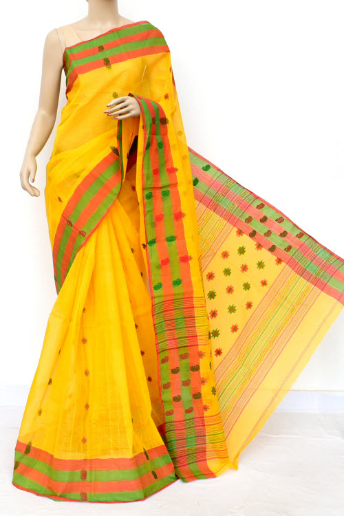 Yellow Colour Handwoven Bengal Handloom Cotton Saree (Without Blouse) 17154