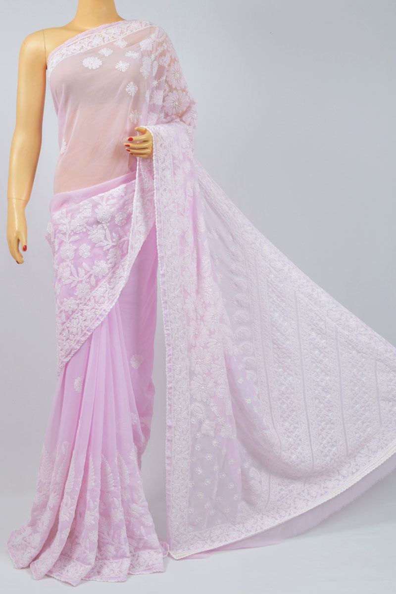 Pink Color Heavy Palla Hand Embroidered Lucknowi Chikankari Saree (With Blouse - Georgette) MC250060
