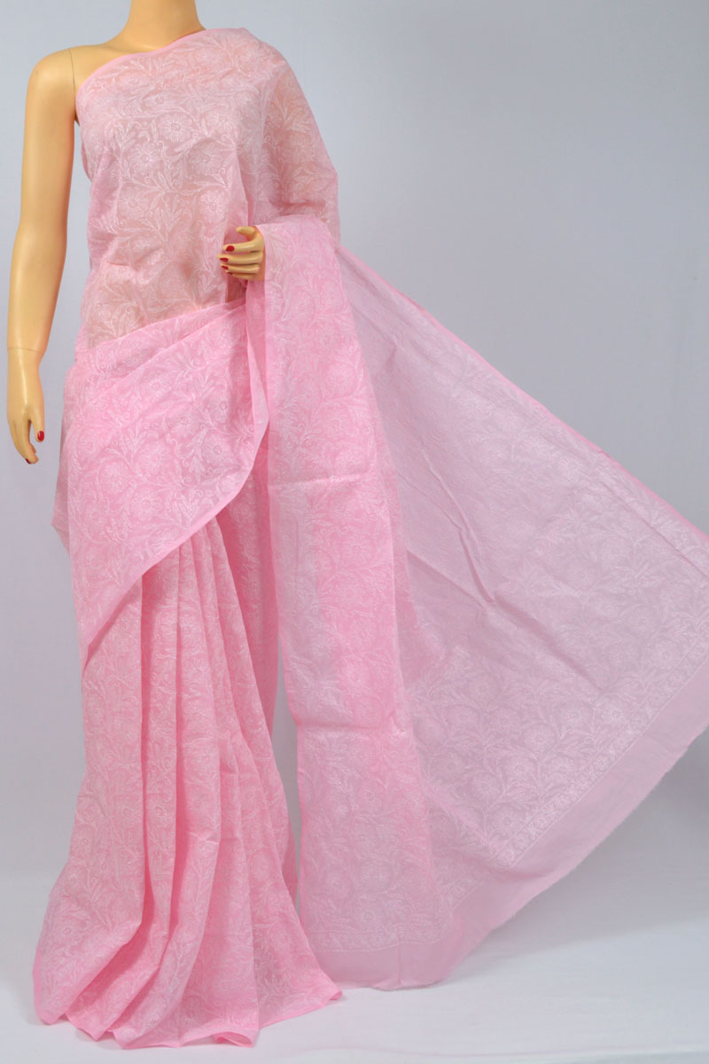 Pink Color Allover Tepchi Work Hand Embroidered Lucknowi Chikankari Saree (With Blouse - Cotton) MC250100