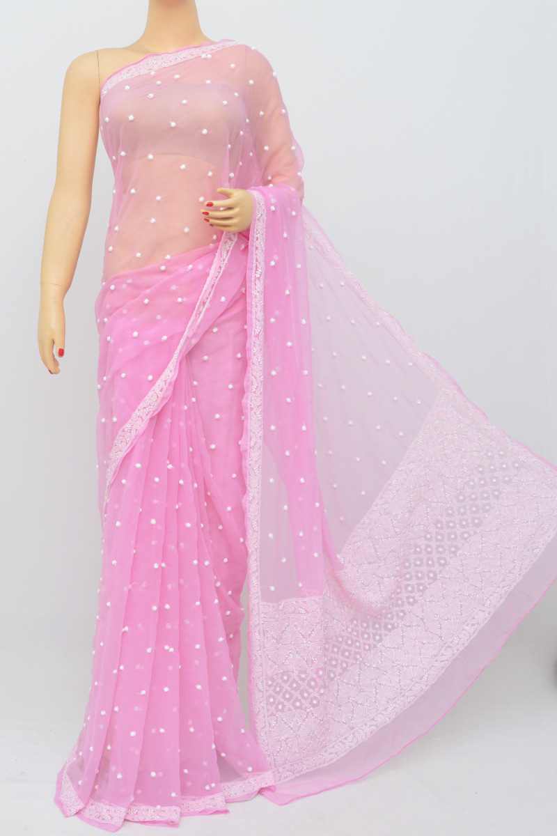 Onion Color, Allover Keel Jaal Work Lucknowi Chikankari Saree (With Blouse - Georgette) MC250538