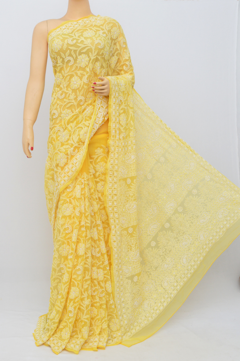 Yellow Color, Allover Jaal Heavy Palla Hand Embroidered Lucknowi Chikankari Saree (with Blouse - Georgette) Mc250539