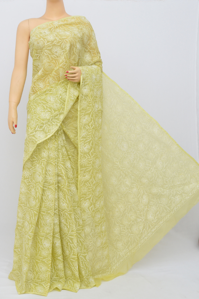 Green Color Kota Cotton Tepchi Work Hand Embroidered Lucknowi Chikankari Saree (Without Blouse) MC250540
