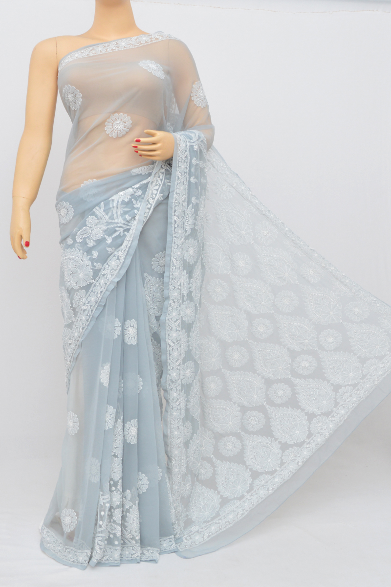 Grey Color Designer Hand Embroidered Lucknowi Chikankari Saree (with Blouse - Georgette) Mc250541
