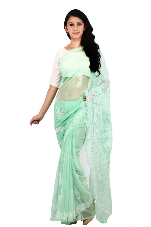 BDS Chikan Georgette Light Green Saree For Woman with Blouse Piece and White Threaded Lucknow Chikan Work   - BDS00128