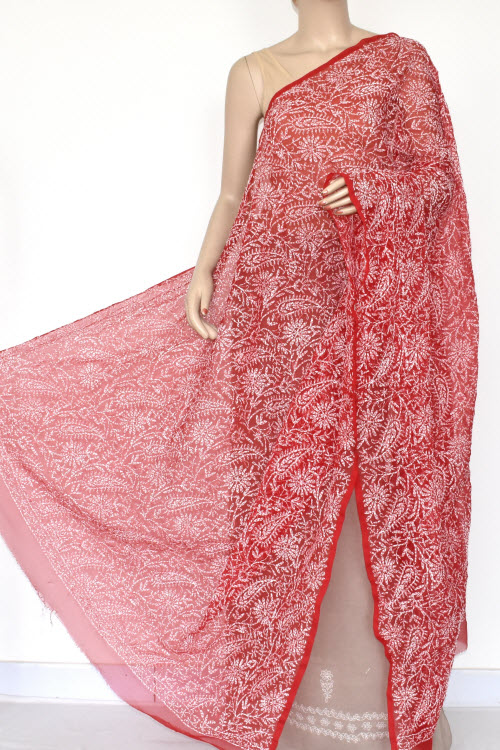 Red Allover Hand Embroidered Lucknowi Chikankari Dupatta (Georgette)17943