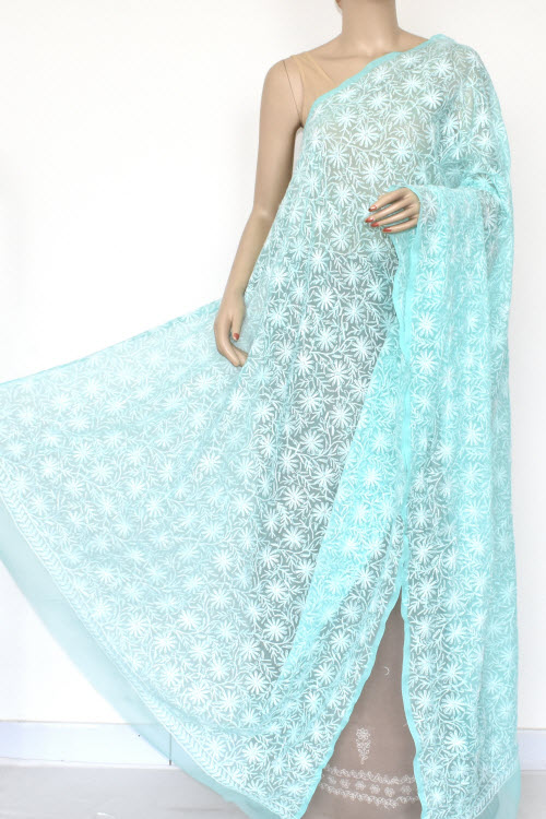 Blue Allover Hand Embroidered Lucknowi Chikankari Dupatta (Georgette)17949