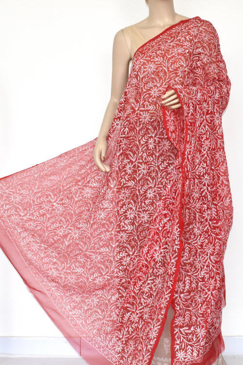 Red Allover Hand Embroidered Lucknowi Chikankari Dupatta (georgette)17951