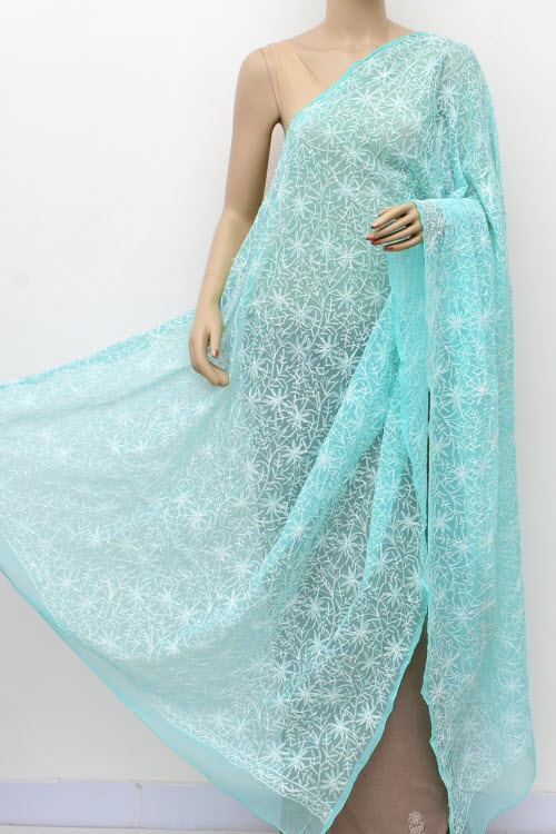 Blue Allover Hand Embroidered Lucknowi Chikankari Dupatta (Georgette)17952