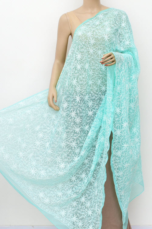 Seagreen Allover Hand Embroidered Lucknowi Chikankari Dupatta (georgette)17954