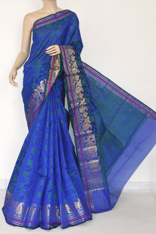Royal Blue Handloom Banarasi Semi Cotton Saree (with Blouse) Allover Resham Weaving 16234