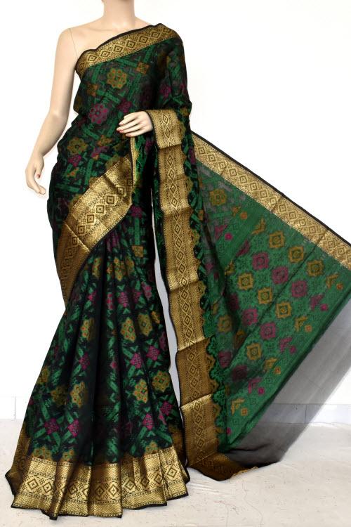 ee66493669fb19 Dark Green Handloom Banarasi Semi Cotton Saree (with Blouse) Allover Resham  Weaving 16236