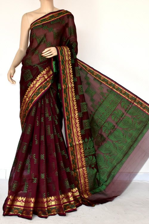 Maroon Handloom Banarasi Semi Cotton Saree (with Blouse) Zari Border Resham Weaving 16226