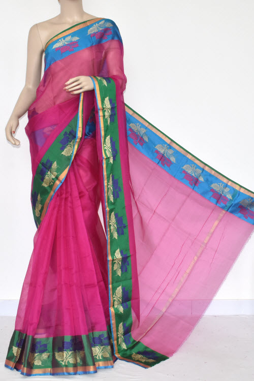 Rani Pink Handloom Banarasi Kora Saree (with Blouse) 16262
