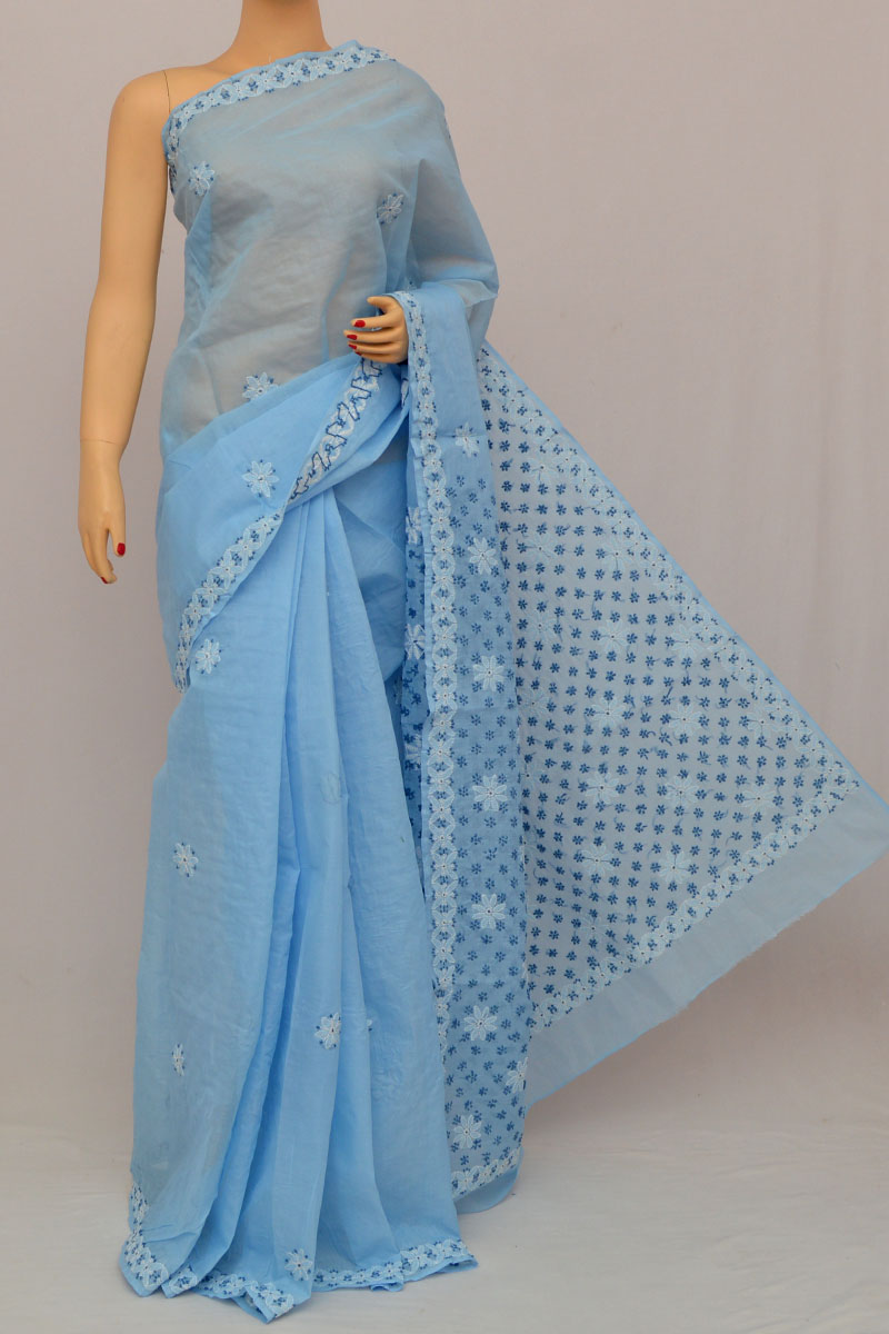 Blue Color Hand Embroidered Lucknowi Chikankari Saree (With Blouse - Cotton) SS250311