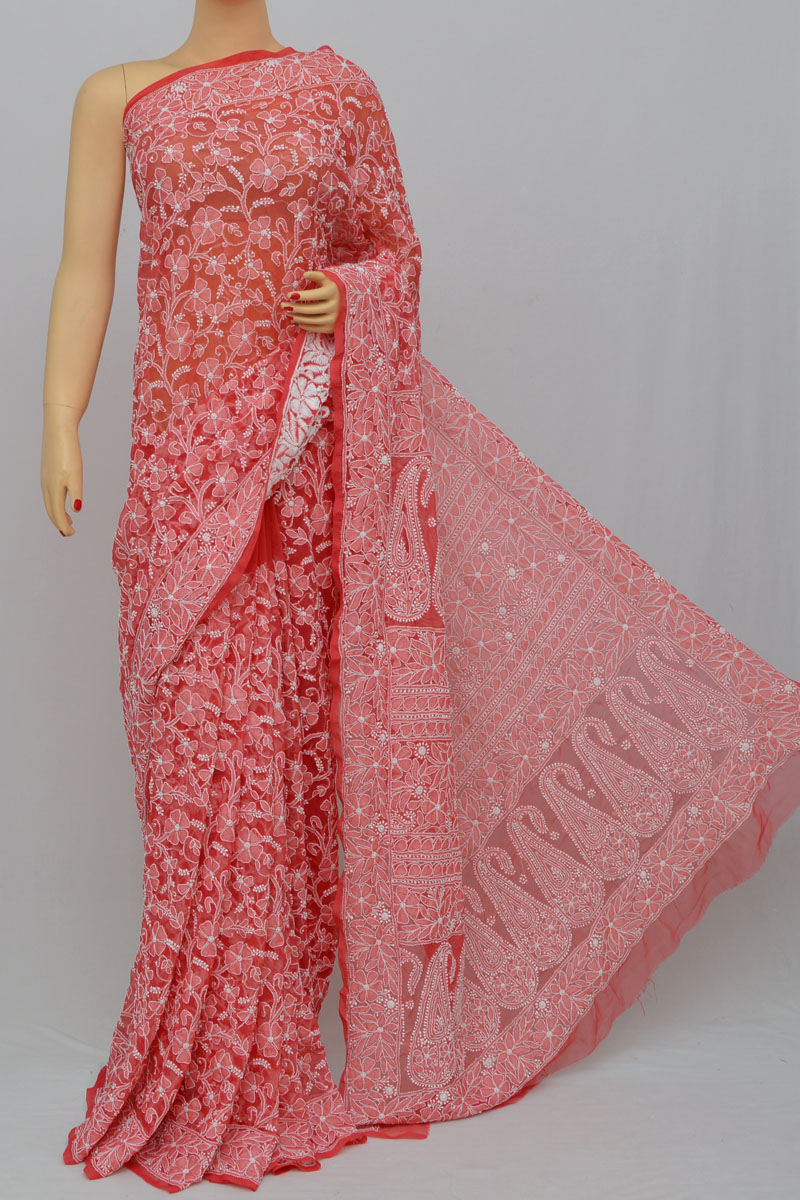 Bastille Color, Allover Jaal Heavy Palla Hand Embroidered Lucknowi Chikankari Saree (With Blouse - Georgette) MY250312