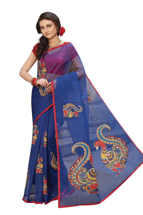 Navy Blue Supernet Applique Saree with red blouse