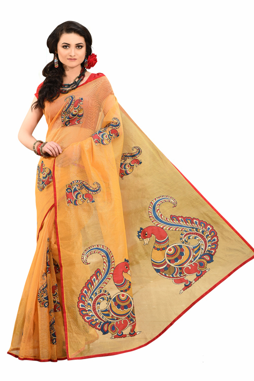 Yellow Supernet Applique Saree with red blouse