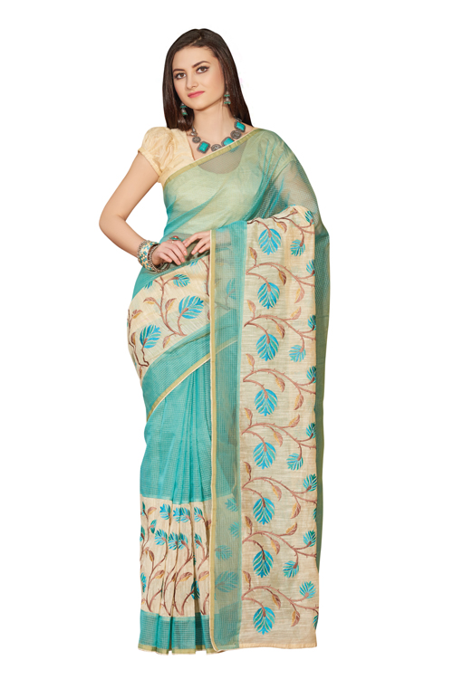 Light Blue-Cream Supernet Checks Saree with cream color blouse