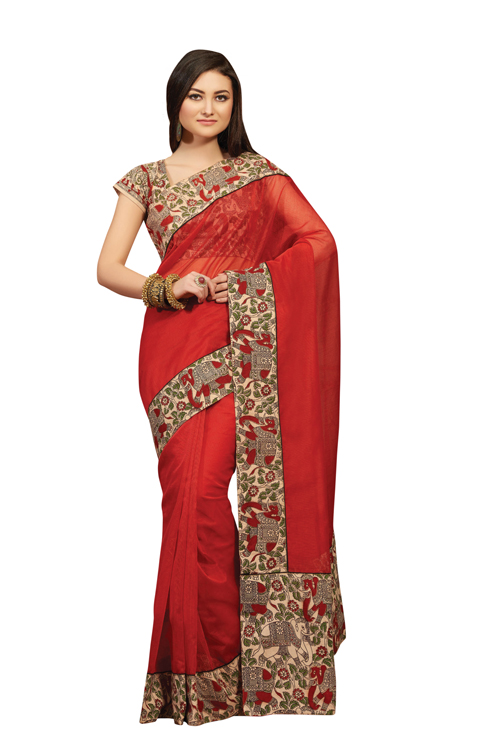 Red Plain Kalamkari Supernet Saree With Printed Blouse