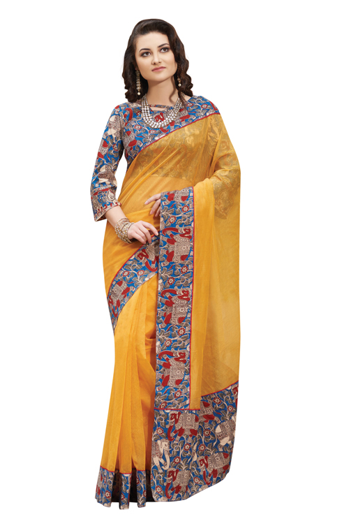 Yellow Kalamkari Plain Supernet Saree with printed blouse