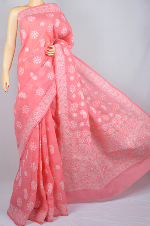 Pink Allover Boota Work Hand Embroidered Lucknowi Chikankari Saree (With Blouse - Cotton) MC250010