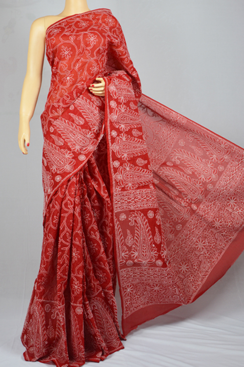 Maroon Allover Hand Embroidered Lucknowi Chikankari Saree (With Blouse - Cotton) MC250012