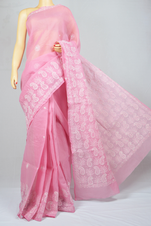 Pink Hand Embroidered Lucknowi Chikankari Saree (With Blouse - Cotton)  MC250013