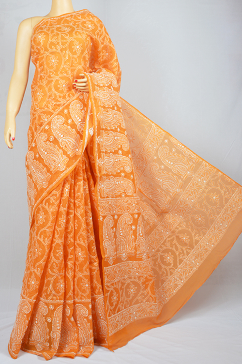 Orange Allover Hand Embroidered Lucknowi Chikankari Saree (With Blouse - Cotton) MC250014