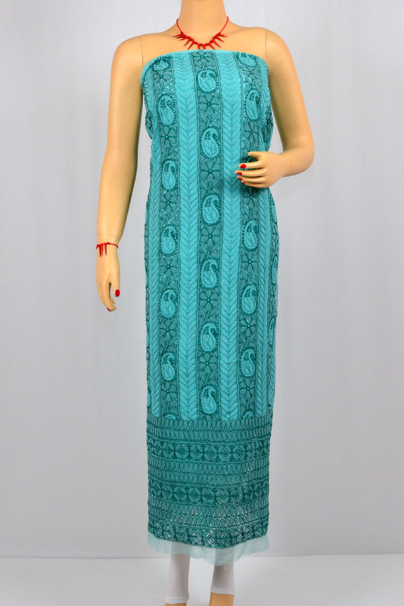 Sea Green Color Resham Work Hand Embroidered Lucknowi Chikankari Suit (Georgette) - MCSU400017