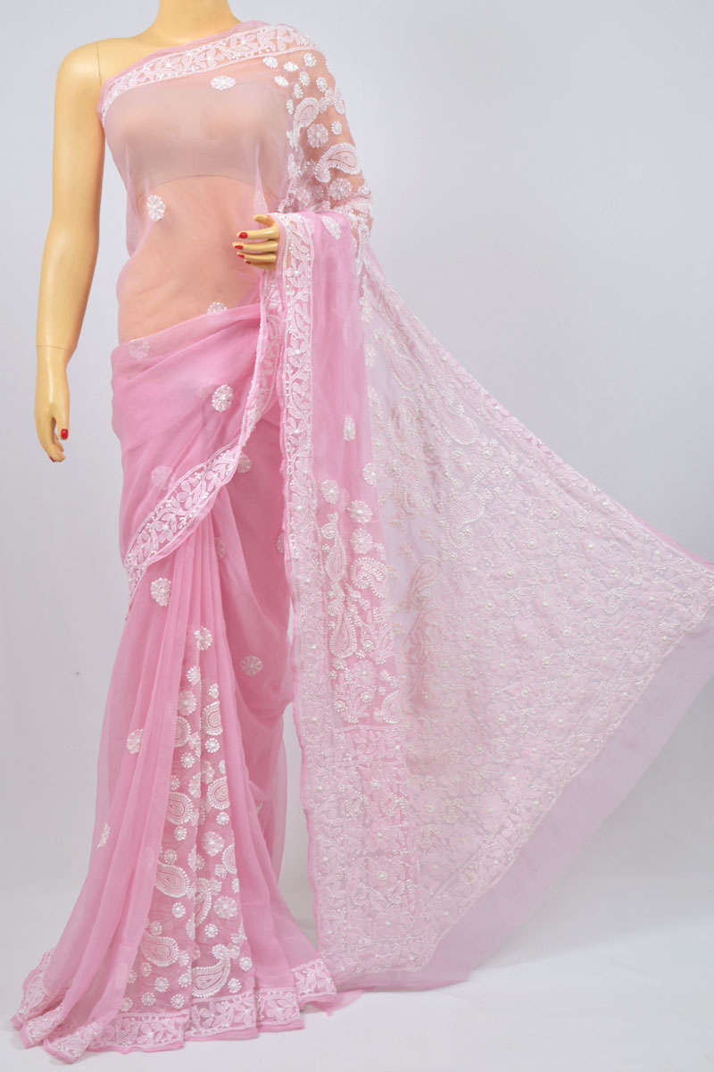 Lavender Color Hand Embroidered Lucknowi Chikankari Saree (With Blouse - Georgette) KC980002