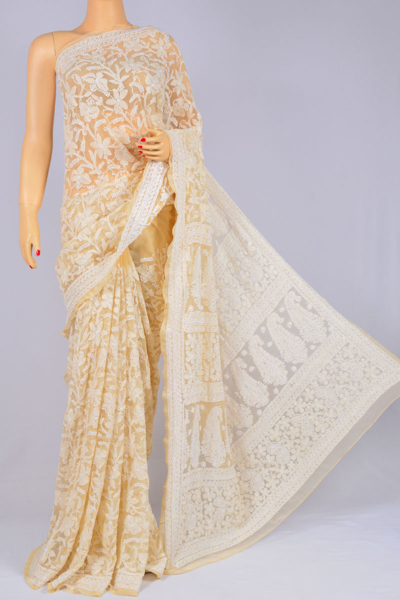 Buttermilk Color Allover Jaal, Heavy Palla Hand Embroidered Lucknowi Chikankari Saree (With Blouse - Georgette) KC250125