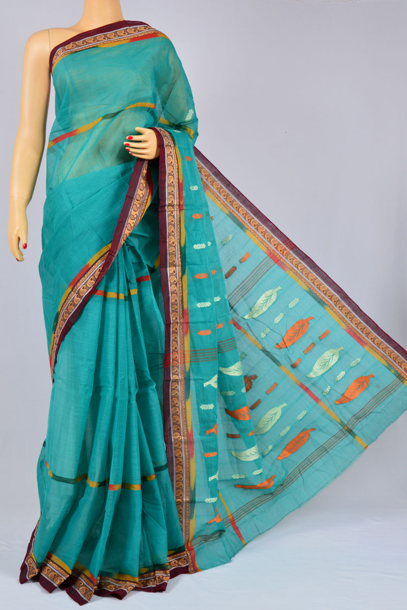 Maya Color Handwoven Bengal Handloom Pure Cotton Tant Saree (without Blouse) - MC250175