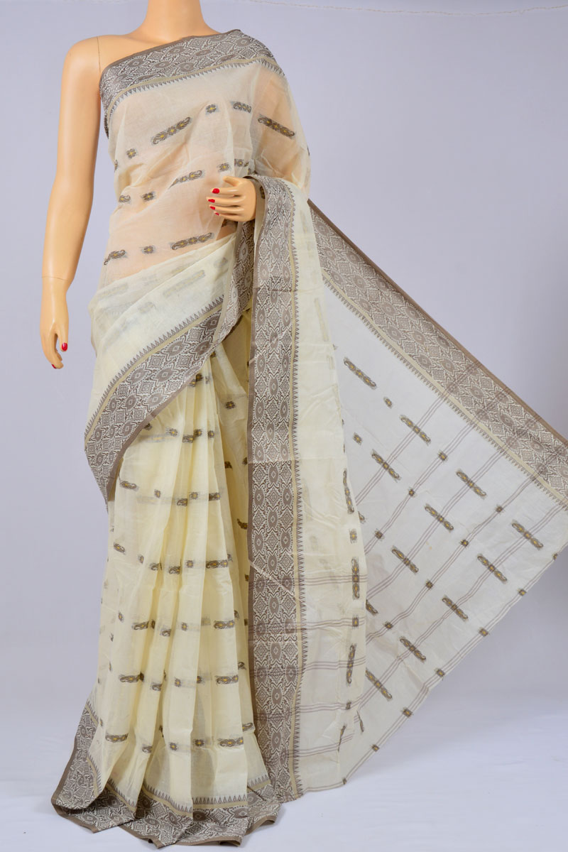 Ricotta Color Handwoven Bengal Handloom Cotton Tant Saree (without Blouse) - MC250177