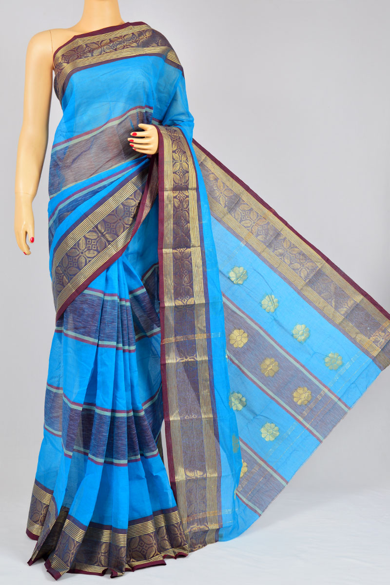 Firozi Color Handwoven Bengal Handloom Pure Cotton Tant, Zari Border Saree (without Blouse) - KC250180