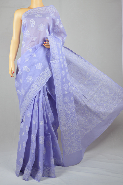 Lavender Hand Embroidered Lucknowi Chikankari Saree (With Blouse - Cotton) MC250015