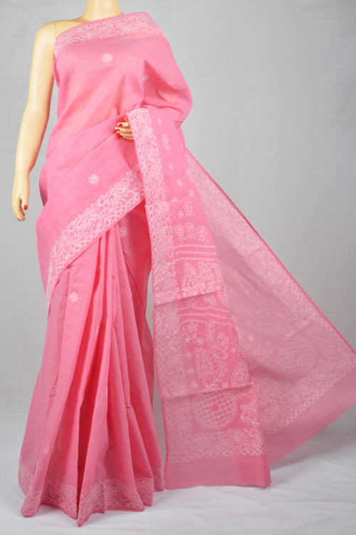 Pink Hand Embroidered Lucknowi Chikankari Saree (With Blouse - Cotton) MC250017