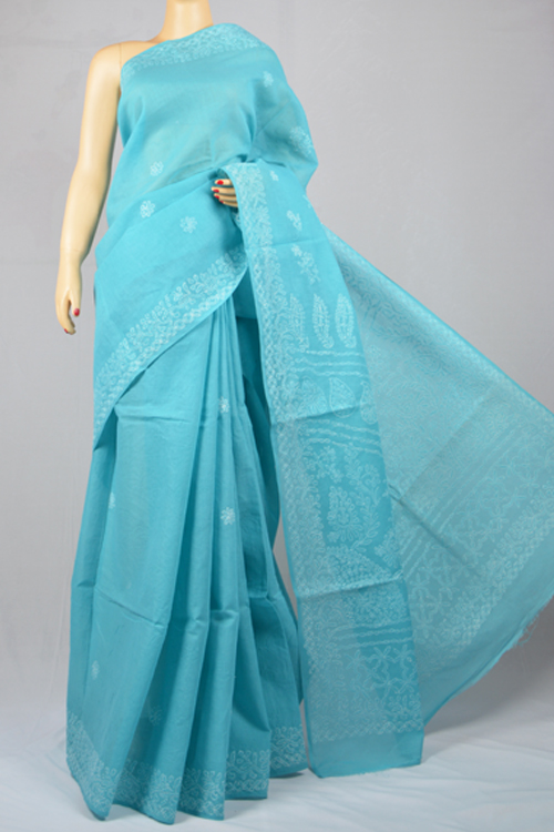 Blue Hand Embroidered Lucknowi Chikankari Saree (With Blouse - Cotton) MC250018