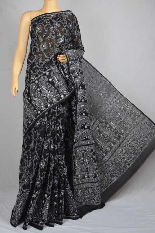 Black Hand Embroidered Lucknowi Chikankari Saree (With Blouse - Cotton) MC250019